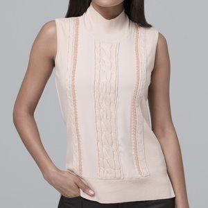 Beaded Blush Beige Sleeveless Cable-Knit Sweater